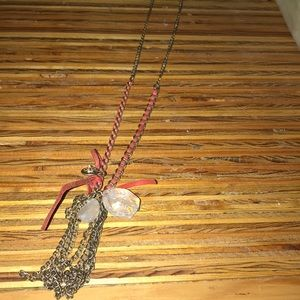 Super cute long chained necklace with stones